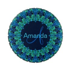 Blue Green Gems #Mandala Jelly Belly #Candy Tin -- Created by Waving Flames. Auntie Shoe thinks it is lovely.