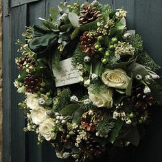greenery, white roses wreath