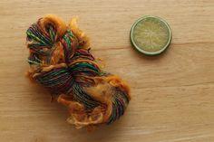 Circus Curls  Green Orange Pink Wool Curl Yarn Handspun Mini