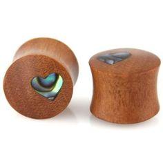 """Amazon.com: Evolatree - Heart - MOP & Wood - 12mm - 1/2"""" Gauge Earrings - Plugs: Jewelry"""