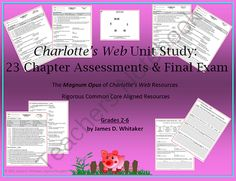 Charlotte's Web Novel Study Chapter Assessments & Final Exam from SophistThoughts on TeachersNotebook.com -  (65 pages)  - Charlotte's Web Novel Study 23 Chapter Assessments and Final Exam