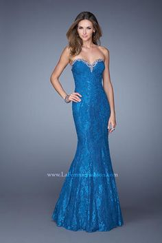 Stunning lace mermaid dress with a sweetheart neckline. The neckline is beautifully accented with rhinestones and multicolored beading. Back zipper closure.