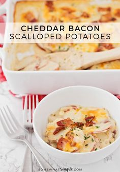 Cheddar Bacon Scalloped Potatoes | These delicious and savory cheddar bacon scalloped potatoes are the perfect easy-to-make side dish for any holiday dinner!