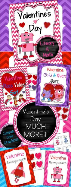 Valentine's Day Literacy,Math and FUN activities!!!! This packet is an awesome way to bring your student's excitement for Valentine's Day and get them engaged in Literacy and Math activities. This unit can be taught whole group, literacy centers, and Math stations. Common Core Aligned. 112 pages  $