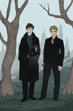 Sherlock and John by ~charter-magic - right... I shouldn't find drawings hot, but they are really hot in this one.