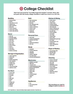 Heading to college and moving in to your freshman dorm room? Here's the ultimate college checklist so you remember everything from bedding essentials to kitchen essentials to cleaning essentials - and everything in between. That little dorm room can hold more than you expect. Print this checklist to make sure you are prepped and ready to go!