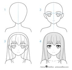 Female anime character face drawing step by step Female anime character face drawing step by step Drawing Anime Bodies, Anime Character Drawing, Anime Girl Drawings, Kawaii Drawings, Manga Drawing, Easy Drawings, Anime Kunst, Anime Art, Wie Zeichnet Man Manga