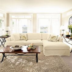 "Emory 134"" Two Piece Slipcovered Sectional In Deso Snow Sectional for Sydnee's loft"