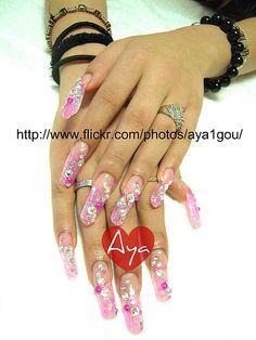 super long pink crystal nails by aya1gou, via Flickr