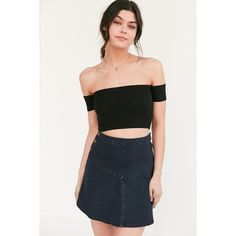 Silence + Noise Lola Off-The-Shoulder Cropped Top ($44) ❤ liked on Polyvore featuring tops, black, fitted tops, off-the-shoulder tops, fitted crop top, off shoulder tops and off shoulder crop top