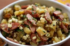 Garlicky Potato, Kielbasa and Green Chile Skillet