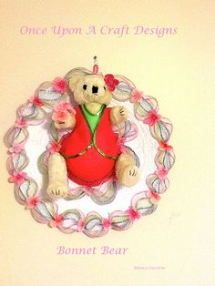Bonnet Bear by OnceUponcraftdesigns on Etsy