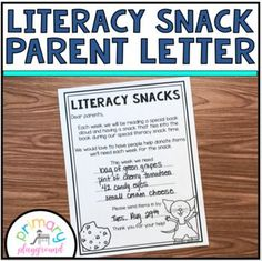 Literacy Snack Parent Letter Each week I post a new literacy snack idea on my blog. This is a letter to send home to parents asking for donations to be sent in to make the weekly literacy snack. Please visit me at primary playground.net to get all of the details of each weeks idea. ************************************************************************ You may also like these other