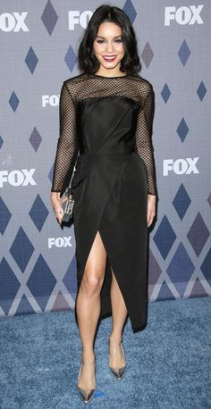 VANESSA HUDGENSVANESSA HUDGENS in a long-sleeve Lorena Sarbu midi with mesh sleeves and a wrap skirt, which she accessorizes with Nicholas Kirkwood pumps and a bold berry lip, at the FOX TCA All-Star party in Pasadena, California.