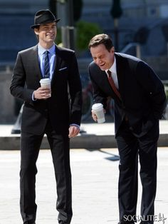 "Matt Bomer and Tim DeKay on location for ""White Collar"" in Brooklyn. September 18, 2013."