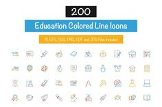 200 Education Colored Line Icons by Creative Stall on @creativemarket
