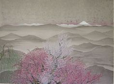 'At Mountain Pass' lithograph by Reiji HIRAMATSU Japanese Art Styles, Japanese Modern, Japanese Prints, Sakura Painting, Japanese Painting, Ink Painting, Berlin, Mountain Pass, Spring Painting