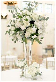 White Flower Centerpieces, White Flower Arrangements, Tall Wedding Centerpieces, Wedding Reception Flowers, White Wedding Flowers, Wedding Arrangements, Wedding Table Centerpieces, Floral Wedding, Wedding Bouquets