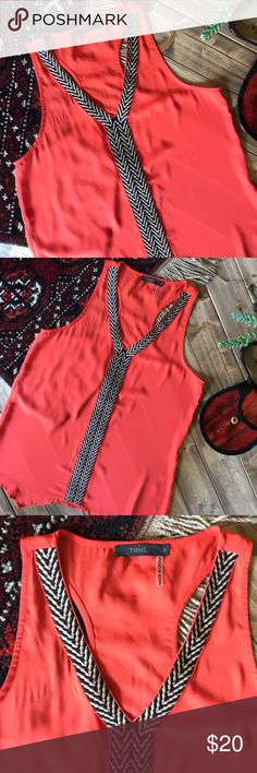 • THML red tank • Bright red orange color with black and cream embroidered detail. No flaws and in perfect condition! THML Tops Tank Tops