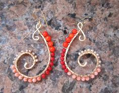 Paisley Beaded Earrings, Coral and Freshwater Pearls, Hammered, Wire Wrapped, 14k Gold Fill Wire and Ear Hooks