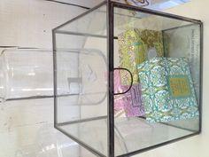 square glass box w/etching $38