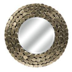 """Padilla Silver Leaf Wood Mirror - 36""""Dia. $338"""