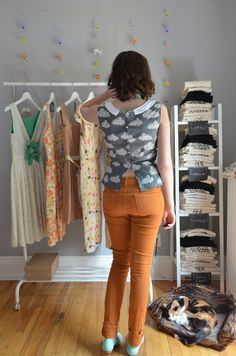 Head in the Clouds Top by Sophster-Toaster Spring Summer 2015, Toaster, Vintage Inspired, Capri Pants, Clouds, Trending Outfits, Grey, Inspiration, Tops