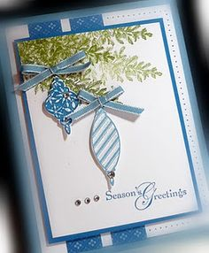 Beautiful Christmas card. Uses Stampin Up lovely as a tree for the branches.