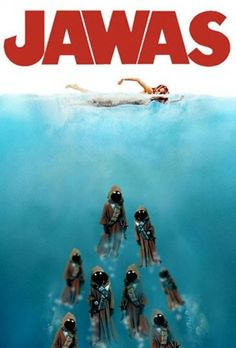 Here are 25 best spoofs of the iconic 'Jaws' movie poster. Here are 25 best spoofs of the iconic 'Jaws' movie poster. - Funny - Check out: Funny Spoofs Of The 'Jaws' Movie Poster on Barnorama Star Wars Meme, Star Wars Fan Art, Star Wars Witze, Star Wars Film, Jaws Movie Poster, Movie Posters, Humour Geek, Cuadros Star Wars, Cinema Tv