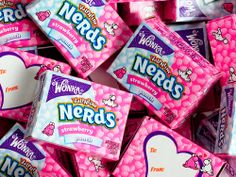 It's impossible to be a nerd when you're giving out Nerds Pink and White Candy for Valentine's Day. The tangy-sweet strawberry and punch flavored candy bits wil Nerd Valentine, Nerds Candy, Pastel Cupcakes, Online Candy Store, Pink Foods, Snack Recipes, Snacks, Just Girly Things, Candy Shop