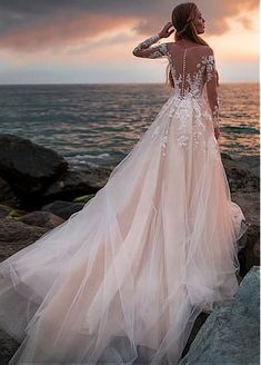Champagne Tulle Wedding Dress with Illusion Lace Long Sleeves - - Kleider hochzeit - brautmode A Line Bridal Gowns, Bridal Dresses, Dresses Dresses, Dresses Online, Bridesmaid Dresses, Nice Dresses, Wedding Bridesmaids, Ceremony Dresses, Sleeve Dresses