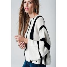 Cream striped sweater with belled sleeves