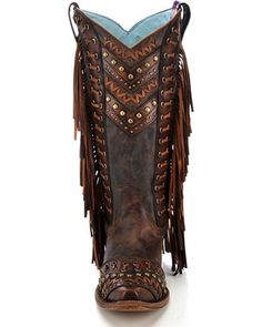 Corral Women's Studded Fringe Cowgirl Boots – Snip Toe Hippie Boots, Boho Boots, Fringe Boots, Fringe Moccasin Boots, Cowgirl Chic, Cowgirl Boots, Moccasins Outfit, Boot Jewelry, Fashion Shoes