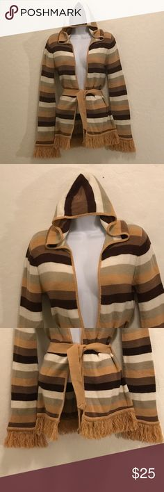 Charlotte Russe Multi-color Hooded Cardigan Excellent Condition, So Cute, Tie Waist, Fringe Sleeve & Hem. Stretch, Long Sleeve. Sweaters Cardigans