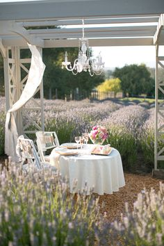 Sweet heart table in the middle of lavender fields.    Photo:  Jihan Cerda Photography  Venue:  Lavender Bee Farm Petaluma, CA