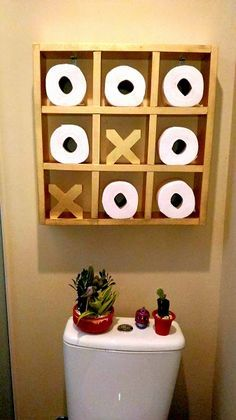 21 Best Toilet Paper Storage Ideas - Cool DIYs Tic Tac Toe Storage The decoration of home is similar to an exhibition space that reveals our very own tastes and design. Best Toilet Paper, Toilet Paper Storage, Toliet Paper Holder, Tissue Paper Storage, Toilet Roll Holder, Diy Home Decor, Room Decor, Bath Decor, Diy Casa