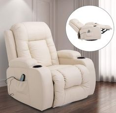 HOMCOM Massage Recliner Chair Heated Vibrating PU Leather Ergonomic Lounge 360 Degree Swivel with Remote - Cream White Good Massage, Drink Holder, Diy Chair, Reclining Sofa, Chairs For Sale, Chair Pads, Massage Chair, Cream White, Chair Design