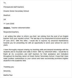 sample teacher retirement letter retirement resignation letter to employer Simple Cover Letter Template, Professional Cover Letter Template, Cover Letter Design, Cover Letters, Retirement Letter To Employer, Teacher Retirement, Early Retirement, Printable Letter Templates, Appreciation Letter