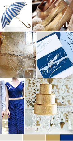 Blue and Gold Wedding Palette, Rich Colours - Blue & Gold Blue Gold Wedding, Gold Wedding Colors, Nautical Wedding, Wedding Color Schemes, Wedding Themes, Wedding Venues, Wedding Ideas, Wedding Decor, Wedding Stuff