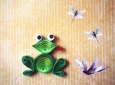 QUILLING - Cute Googly Eyed Green Frog. Quilling, first known as paper filigree…