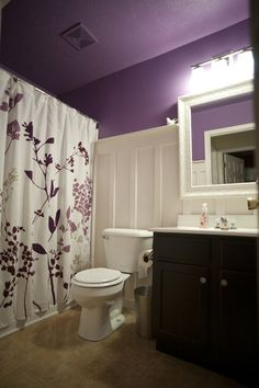 I've always wanted a purple bathroom and I love the color being on the ceiling too!