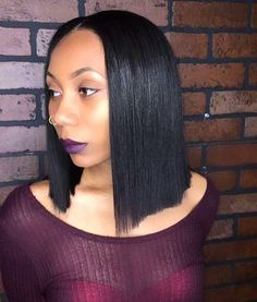 STYLIST FEATURE| Love this blunt cut #bob styled by #dmvstylist @thehairmagician ✂️ Simple and sleek #voiceofhair