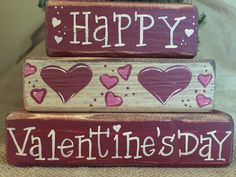 Primitive Happy Valentine's Day with Hearts 3 pc Shelf Sitter Wood Block Set #PrimitiveCountry
