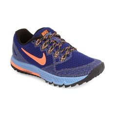 Nike 'Air Zoom Wildhorse 3' Trail Running Shoe (165 NZD) ❤ liked on Polyvore featuring shoes, athletic shoes, nike, cushioned shoes, lightweight trail running shoes, mesh athletic shoes and nike shoes