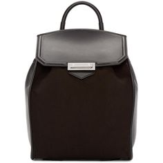 Alexander Wang Black Canvas and Leather Prisma Backpack (£790) ❤ liked on Polyvore featuring bags, backpacks, canvas leather backpack, leather daypack, canvas leather rucksack, leather knapsack and day pack backpack
