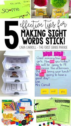 5 effective tips for making sight words stick! Great ideas that are easy-to-implement and produce results. Hands-on, engaging activities to provide students with opportunities to identify & read sight words in isolation and in context. Great for Kindergarten and First Grade!