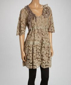 Another great find on #zulily! Brown Sheer Flower Linen-Blend Tunic by Pretty Angel #zulilyfinds