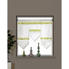 Miniflächen-Set Scheibengardine quer gestreift grün