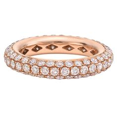 Daniel K Fancy Pink Diamond Gold 3-Row Band Ring | From a unique collection of vintage wedding rings at https://www.1stdibs.com/jewelry/rings/wedding-rings/