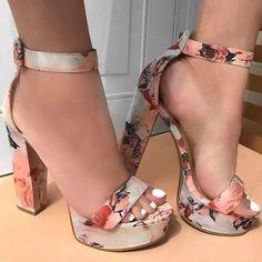 Ankle Strap Chunky Platform Sandal Heels